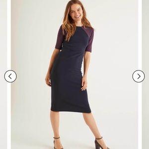 Boden poppy ottoman dress- navy/fig